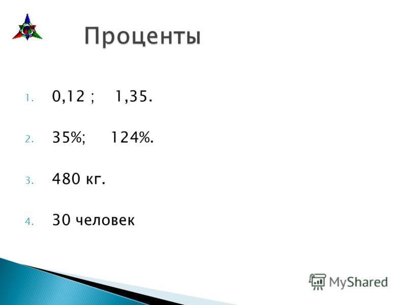 1. 0,12 ; 1,35. 2. 35%; 124%. 3. 480 кг. 4. 30 человек