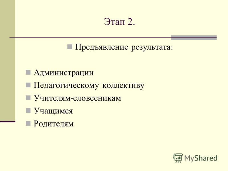 Этап 2. Предъявление результата: Администрации Педагогическому коллективу Учителям-словесникам Учащимся Родителям