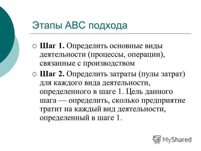 Этапы АВС подхода Шаг 1. Определить основные виды деятельности (процессы, операции), связанные с производством Шаг 2. Определить затраты (пулы затрат) для каждого вида деятельности, определенного в шаге 1. Цель данного шага определить, сколько предпр