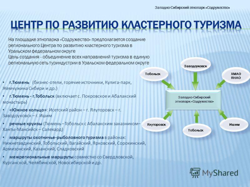 На площадке этнопарка «Содружество» предполагается создание регионального Центра по развитию кластерного туризма в Уральском федеральном округе Цель создания - объединение всех направлений туризма в единую региональную сеть туриндустрии в Уральском ф