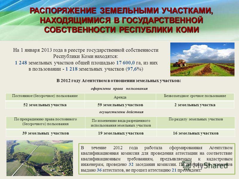 На 1 января 2013 года в реестре государственной собственности Республики Коми находятся: 1 248 земельных участков общей площадью 17 600,0 га, из них в пользовании - 1 218 земельных участков (97,6%) оформлены права пользования Постоянное (бессрочное)
