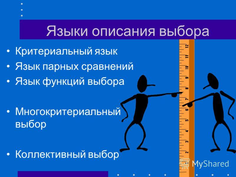Морфология выбора Тип множества альтернатив Шкалы критериев Потери от ошибок выбора Тип неопределенности Многократность выбора Число участников выбора Отношения между ними