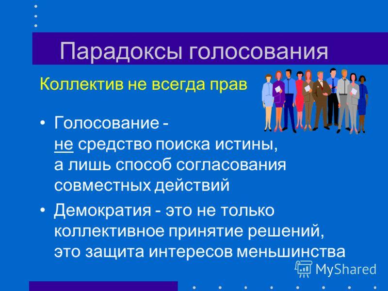 Парадоксы голосования Парадокс коалиции Условия: Многоступенчатость голосования Дисциплина меньшинства Достаточная многочисленность меньшинства 4:5 2:1 1:0