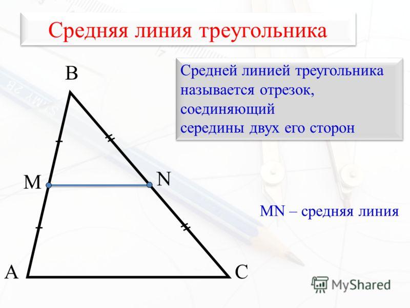 Средняя линия треугольника А В С М N Средней линией треугольника называется отрезок, соединяющий середины двух его сторон Средней линией треугольника называется отрезок, соединяющий середины двух его сторон MN – средняя линия