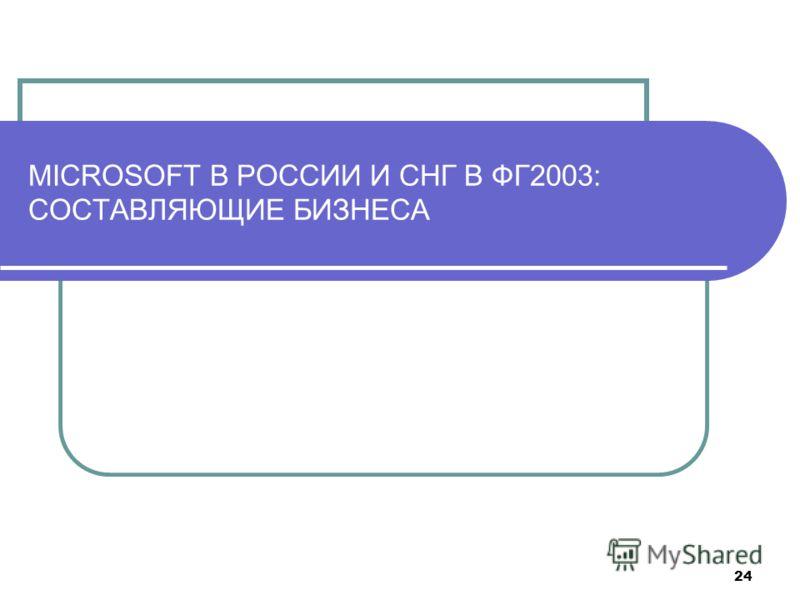 24 MICROSOFT В РОССИИ И СНГ В ФГ2003: СОСТАВЛЯЮЩИЕ БИЗНЕСА