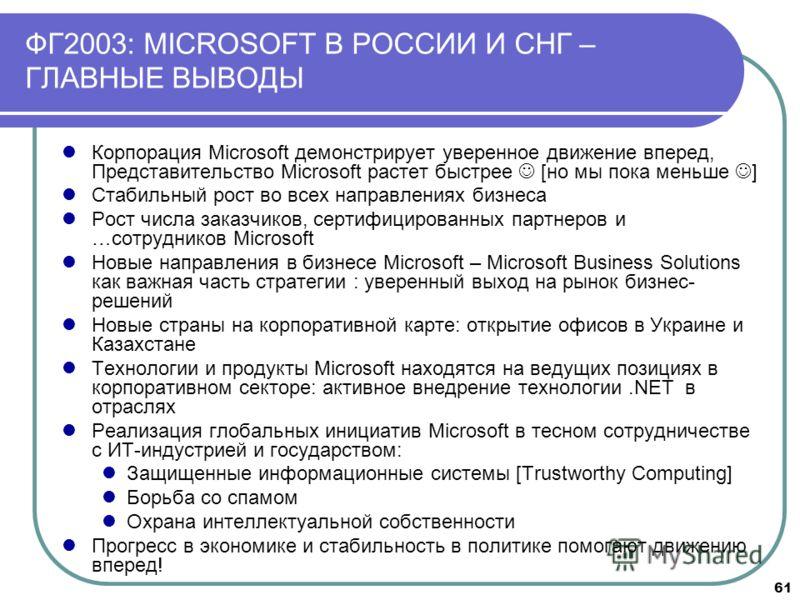 61 ФГ2003: MICROSOFT В РОССИИ И СНГ – ГЛАВНЫЕ ВЫВОДЫ Корпорация Microsoft демонстрирует уверенное движение вперед, Представительство Microsoft растет быстрее [но мы пока меньше ] Стабильный рост во всех направлениях бизнеса Рост числа заказчиков, сер