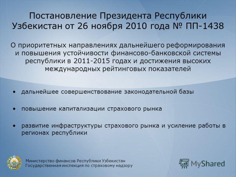 Постановление Президента Республики Узбекистан от 26 ноября 2010 года ПП-1438 О приоритетных направлениях дальнейшего реформирования и повышения устойчивости финансово-банковской системы республики в 2011-2015 годах и достижения высоких международных