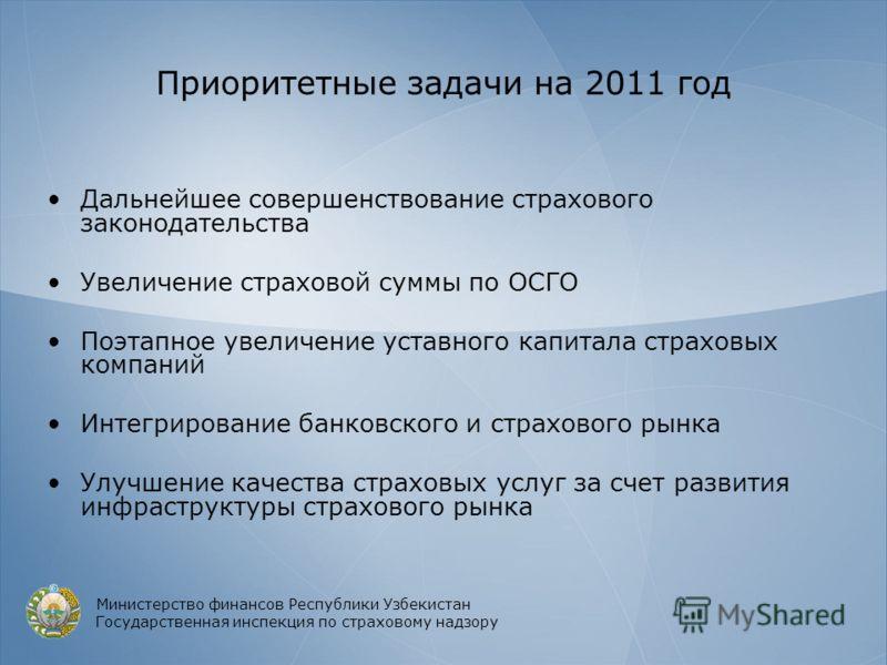 Приоритетные задачи на 2011 год Дальнейшее совершенствование страхового законодательства Увеличение страховой суммы по ОСГО Поэтапное увеличение уставного капитала страховых компаний Интегрирование банковского и страхового рынка Улучшение качества ст