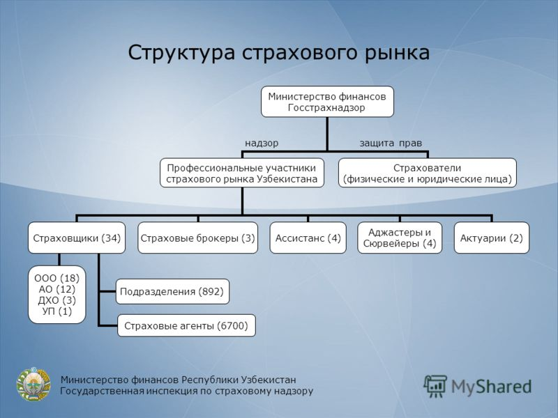 Структура страхового рынка Министерство финансов Республики Узбекистан Государственная инспекция по страховому надзору защита прав надзор