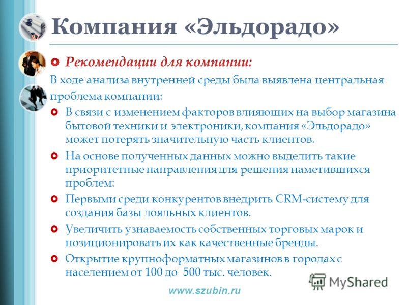Компания «Эльдорадо» www.szubin.ru