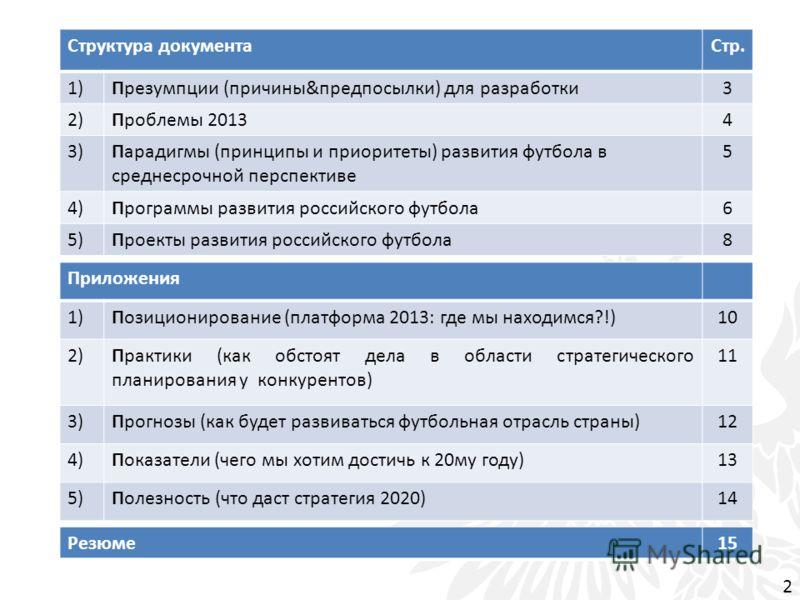 Структура документаСтр. 1)Презумпции (причины&предпосылки) для разработки3 2)Проблемы 20134 3)Парадигмы (принципы и приоритеты) развития футбола в среднесрочной перспективе 5 4)Программы развития российского футбола6 5)Проекты развития российского фу