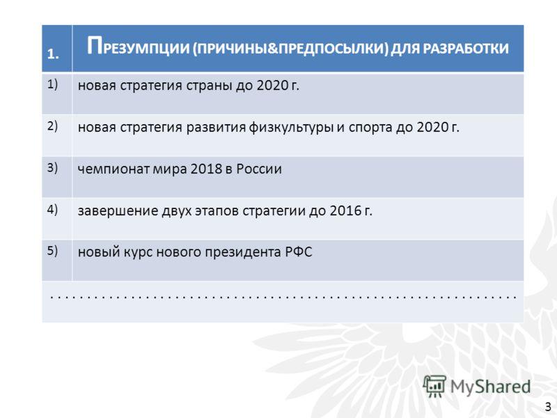 1. П РЕЗУМПЦИИ (ПРИЧИНЫ&ПРЕДПОСЫЛКИ) ДЛЯ РАЗРАБОТКИ 1) новая стратегия страны до 2020 г. 2) новая стратегия развития физкультуры и спорта до 2020 г. 3) чемпионат мира 2018 в России 4) завершение двух этапов стратегии до 2016 г. 5) новый курс нового п