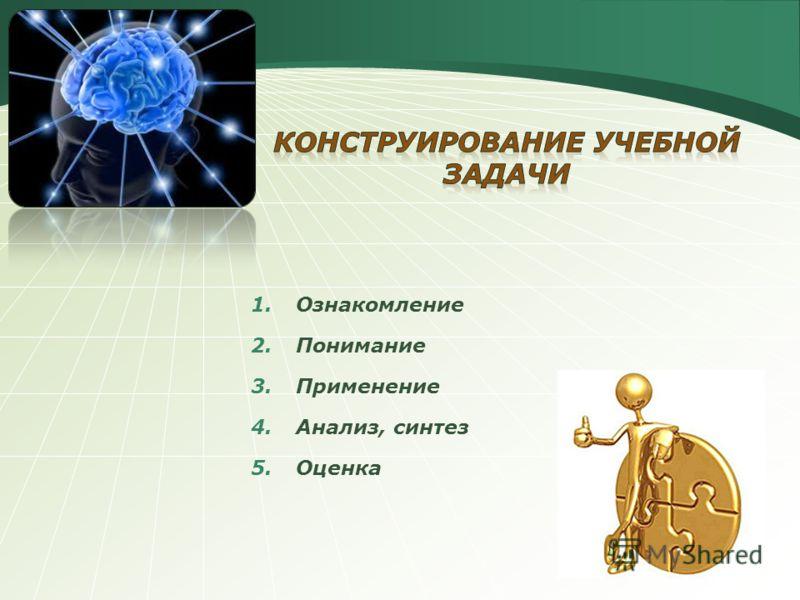 1.Ознакомление 2.Понимание 3.Применение 4.Анализ, синтез 5.Оценка