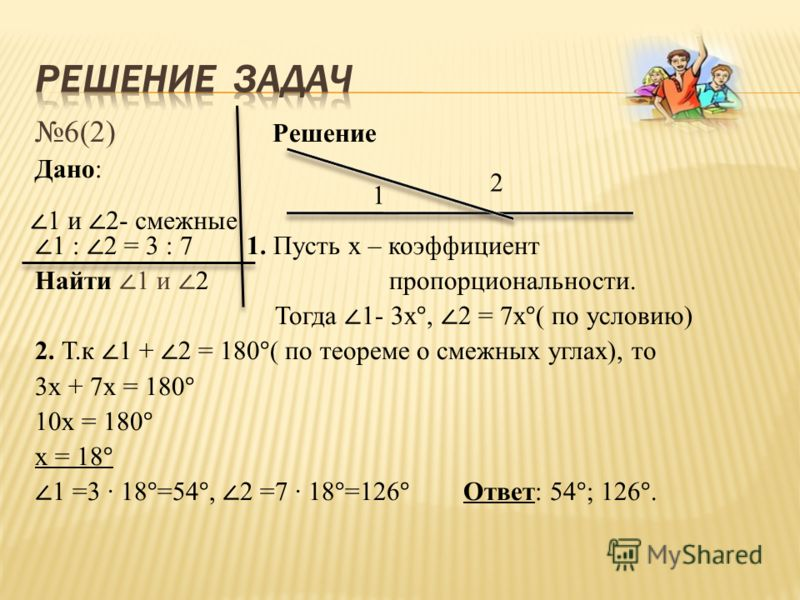 6(2) Решение Дано: 1 : 2 = 3 : 7 1. Пусть х – коэффициент Найти 1 и 2 пропорциональности. Тогда 1- 3х°, 2 = 7х°( по условию) 2. Т.к 1 + 2 = 180°( по теореме о смежных углах), то 3х + 7х = 180° 10х = 180° х = 18° 1 =3 18°=54°, 2 =7 18°=126° Ответ: 54°
