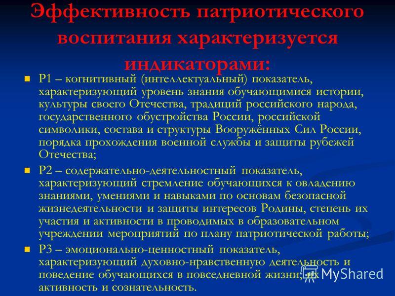 Эффективность патриотического воспитания характеризуется индикаторами: Р1 – когнитивный (интеллектуальный) показатель, характеризующий уровень знания обучающимися истории, культуры своего Отечества, традиций российского народа, государственного обуст