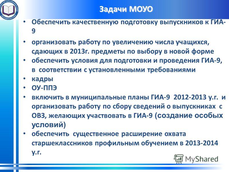 Задачи МОУО Обеспечить качественную подготовку выпускников к ГИА- 9 организовать работу по увеличению числа учащихся, сдающих в 2013г. предметы по выбору в новой форме обеспечить условия для подготовки и проведения ГИА-9, в соответствии с установленн