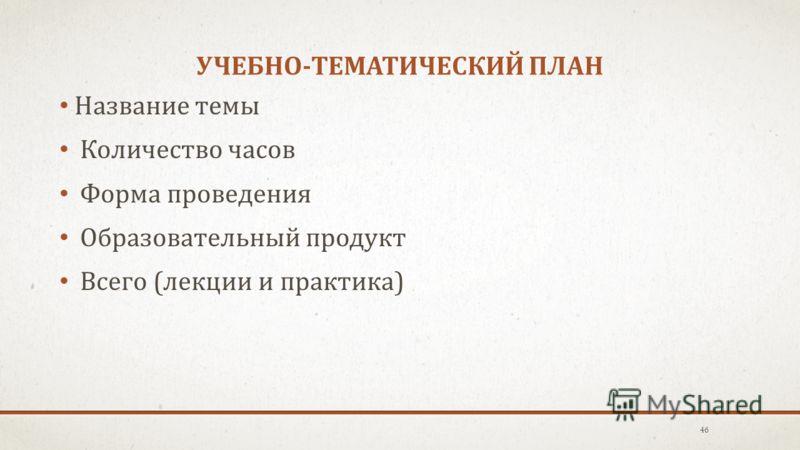 УЧЕБНО-ТЕМАТИЧЕСКИЙ ПЛАН Название темы Количество часов Форма проведения Образовательный продукт Всего (лекции и практика) 46