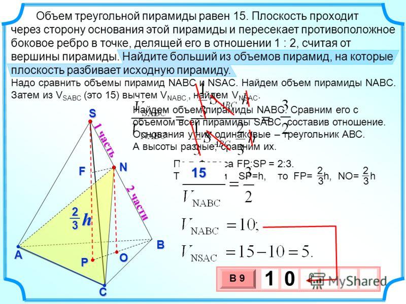 Найдем объем пирамиды NABC. Сравним его с объемом всей пирамиды SABC, составив отношение. Основания у них одинаковые – треугольник АВС. А высоты разные, сравним их. По т. Фалеса FP:SP = 2:3. Тогда, если SP=h, то FP= h, NO= h 2 3 2 3 Объем треугольной