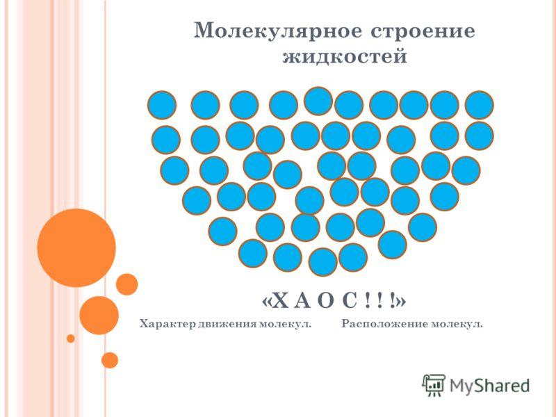 Молекулярное строение жидкостей «Х А О С ! ! !» Характер движения молекул. Расположение молекул.