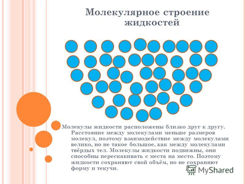 Молекулярное строение жидкостей Молекулы жидкости расположены близко друг к другу. Расстояние между молекулами меньше размеров молекул, поэтому взаимодействие между молекулами велико, но не такое большое, как между молекулами твёрдых тел. Молекулы жи