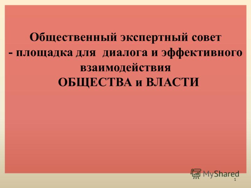 Общественный экспертный совет - площадка для диалога и эффективного взаимодействия ОБЩЕСТВА и ВЛАСТИ 1