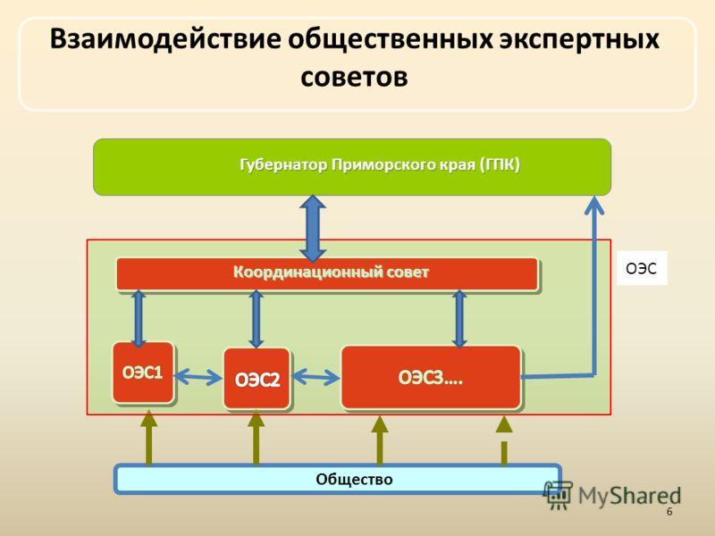 Общество Координационный совет Взаимодействие общественных экспертных советов Губернатор Приморского края (ГПК) ОЭС 6