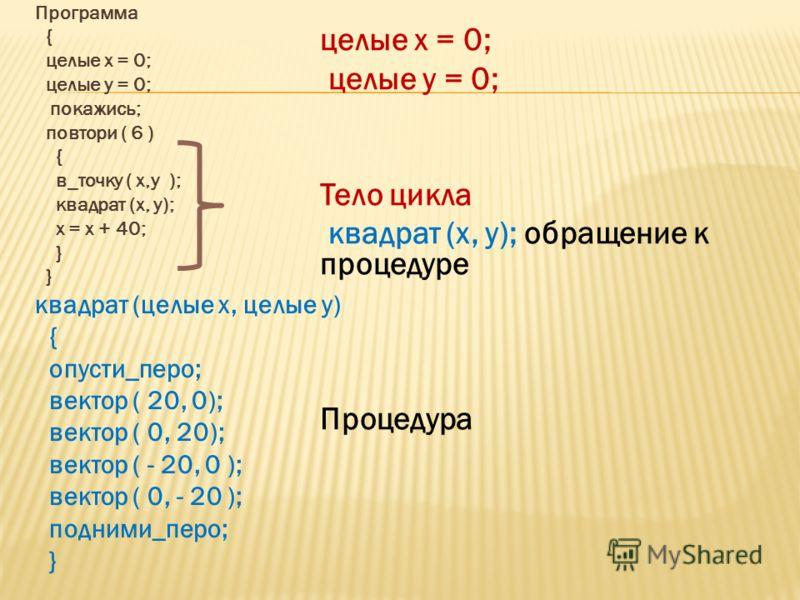 Программа { целые х = 0; целые у = 0; покажись; повтори ( 6 ) { в_точку ( х,у ); квадрат (х, у); х = х + 40; } квадрат (целые х, целые у) { опусти_перо; вектор ( 20, 0); вектор ( 0, 20); вектор ( - 20, 0 ); вектор ( 0, - 20 ); подними_перо; } целые х