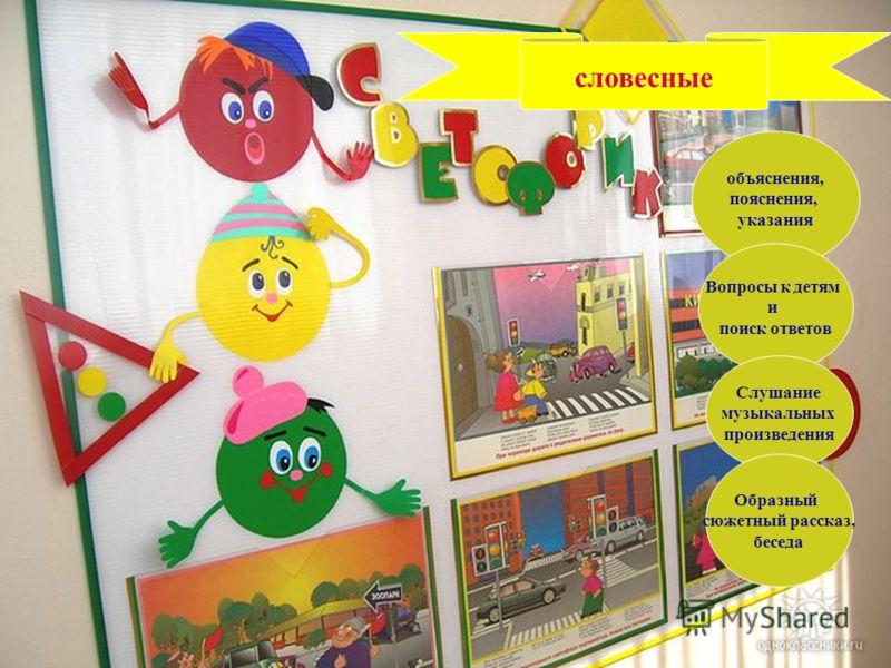 словесные объяснения, пояснения, указания Вопросы к детям и поиск ответов Слушание музыкальных произведения Образный сюжетный рассказ, беседа