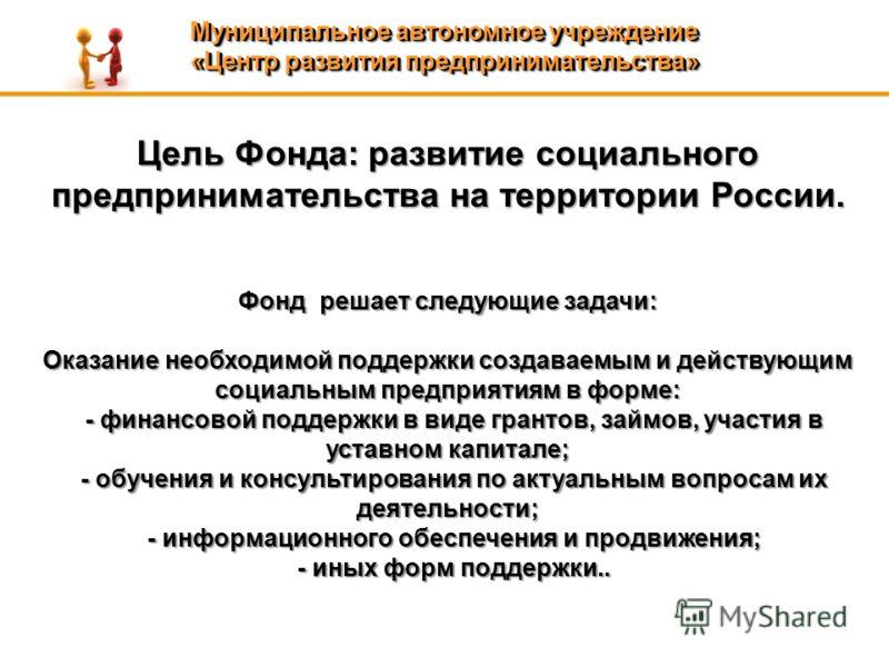 Цель Фонда: развитие социального предпринимательства на территории России. Фонд решает следующие задачи: Оказание необходимой поддержки создаваемым и действующим социальным предприятиям в форме: - финансовой поддержки в виде грантов, займов, участия