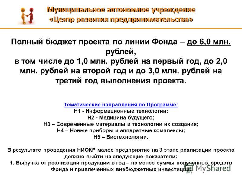 Муниципальное автономное учреждение «Центр развития предпринимательства» Муниципальное автономное учреждение «Центр развития предпринимательства» Полный бюджет проекта по линии Фонда – до 6,0 млн. рублей, в том числе до 1,0 млн. рублей на первый год,