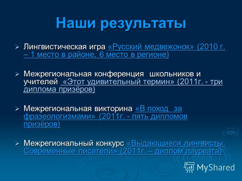 Наши результаты Лингвистическая игра «Русский медвежонок» (2010 г. – 1 место в районе, 6 место в регионе) Лингвистическая игра «Русский медвежонок» (2010 г. – 1 место в районе, 6 место в регионе) Межрегиональная конференция школьников и учителей «Это