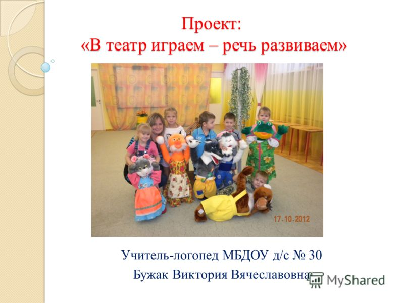 Проект: «В театр играем – речь развиваем» Учитель-логопед МБДОУ д/с 30 Бужак Виктория Вячеславовна
