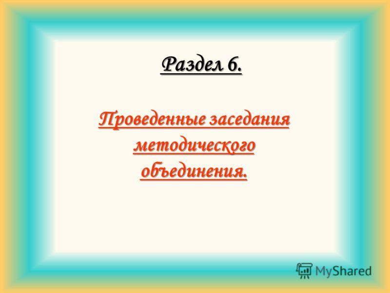 Раздел 6. Проведенные заседания методического объединения.