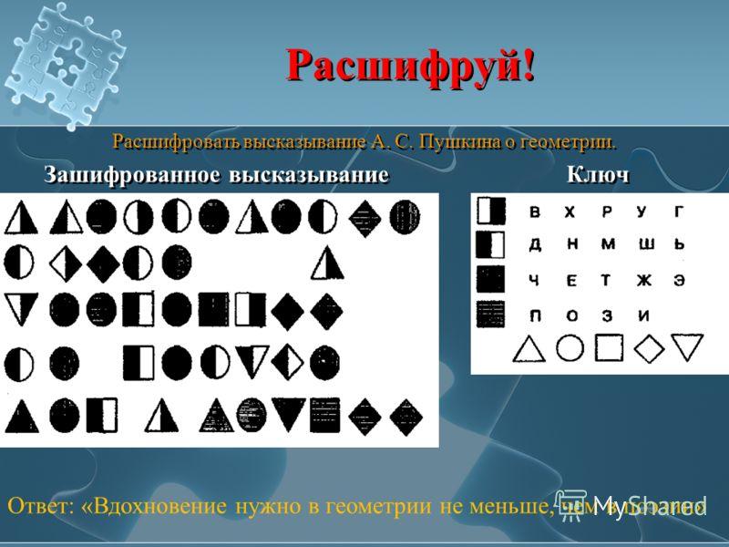 Расшифруй! Расшифровать высказывание А. С. Пушкина о геометрии. Зашифрованное высказывание Ключ Расшифровать высказывание А. С. Пушкина о геометрии. Зашифрованное высказывание Ключ Ответ: «Вдохновение нужно в геометрии не меньше, чем в поэзии»