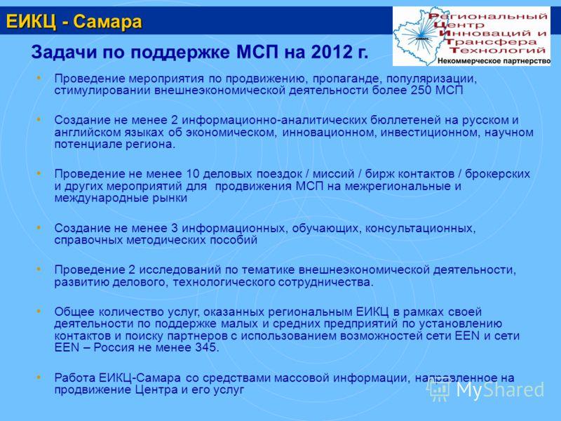 ЕИКЦ - Самара Задачи по поддержке МСП на 2012 г. Проведение мероприятия по продвижению, пропаганде, популяризации, стимулировании внешнеэкономической деятельности более 250 МСП Создание не менее 2 информационно-аналитических бюллетеней на русском и а