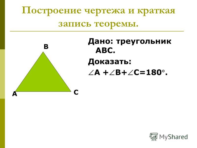 Построение чертежа и краткая запись теоремы. А В С Дано: треугольник АВС. Доказать: А +В+С=180.