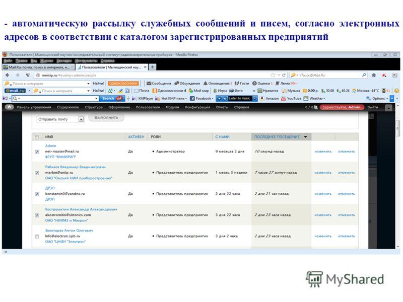 - автоматическую рассылку служебных сообщений и писем, согласно электронных адресов в соответствии с каталогом зарегистрированных предприятий