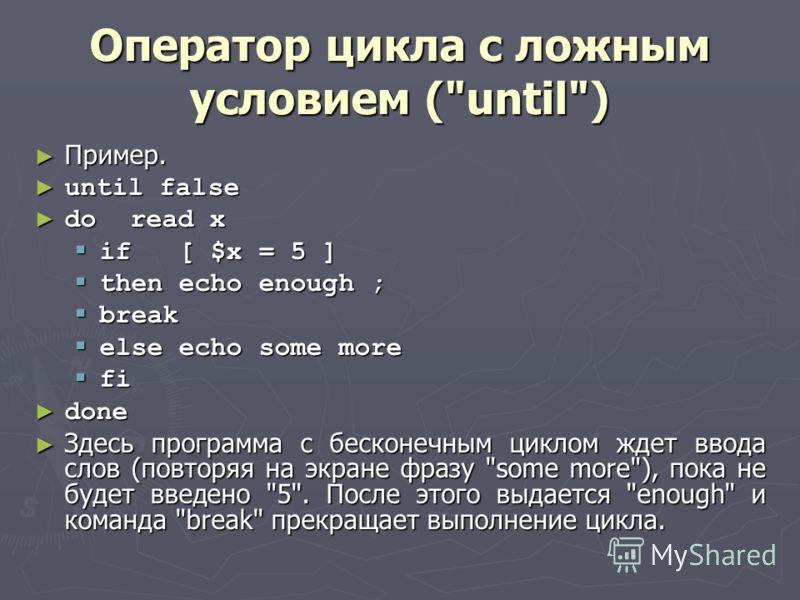 Оператор цикла с ложным условием (