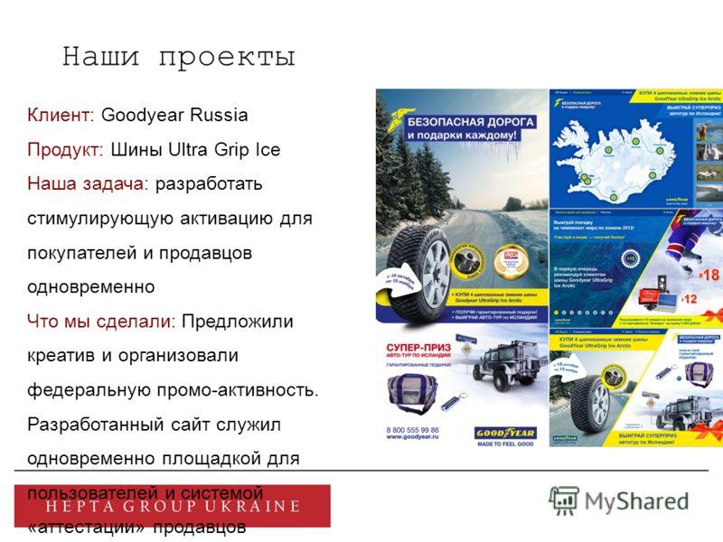 Наши проекты Клиент: Goodyear Russia Продукт: Шины Ultra Grip Ice Наша задача: разработать стимулирующую активацию для покупателей и продавцов одновременно Что мы сделали: Предложили креатив и организовали федеральную промо-активность. Разработанный