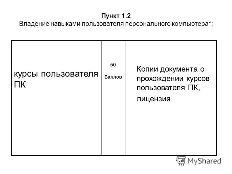 Пункт 1.2 Владение навыками пользователя персонального компьютера*: курсы пользователя ПК 50 Баллов Копии документа о прохождении курсов пользователя ПК, лицензия
