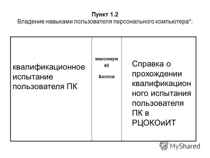 Пункт 1.2 Владение навыками пользователя персонального компьютера*: квалификационное испытание пользователя ПК максимум 40 Баллов Справка о прохождении квалификацион ного испытания пользователя ПК в РЦОКОиИТ