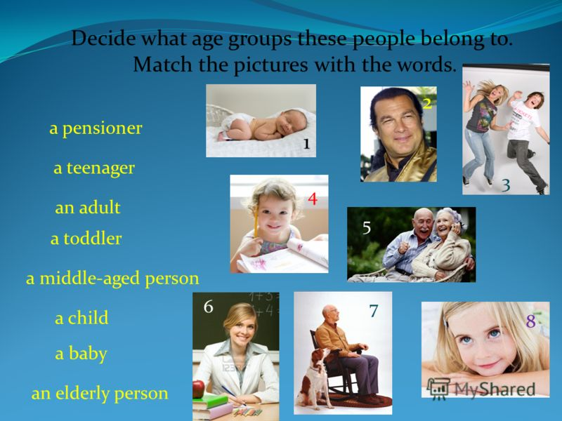 a pensioner a teenager an adult a toddler a middle-aged person a child a baby an elderly person Decide what age groups these people belong to. Match the pictures with the words. 1 2 3 4 5 6 7 8