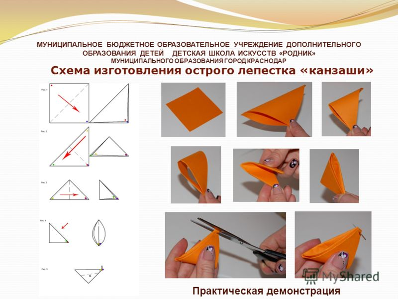 Схемы лепестков канзаши