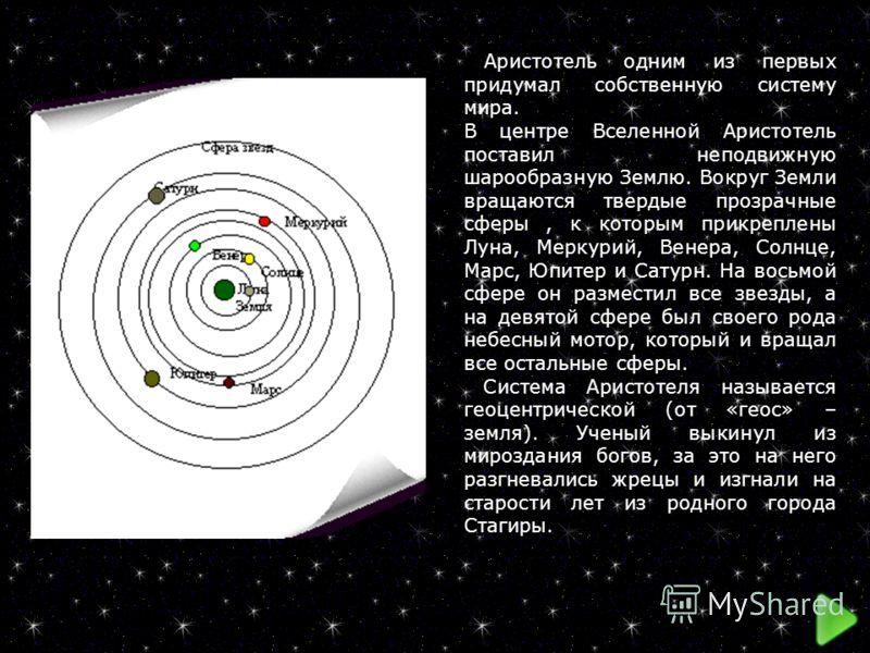 Аристотель одним из первых придумал собственную систему мира. В центре Вселенной Аристотель поставил неподвижную шарообразную Землю. Вокруг Земли вращаются твердые прозрачные сферы, к которым прикреплены Луна, Меркурий, Венера, Солнце, Марс, Юпитер и