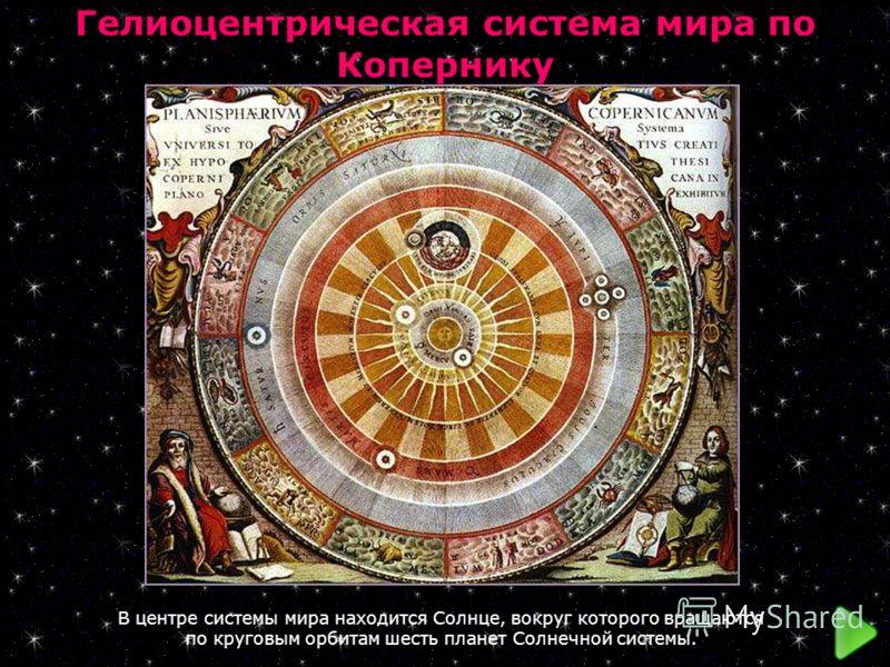 Гелиоцентрическая система мира по Копернику В центре системы мира находится Солнце, вокруг которого вращаются по круговым орбитам шесть планет Солнечной системы.
