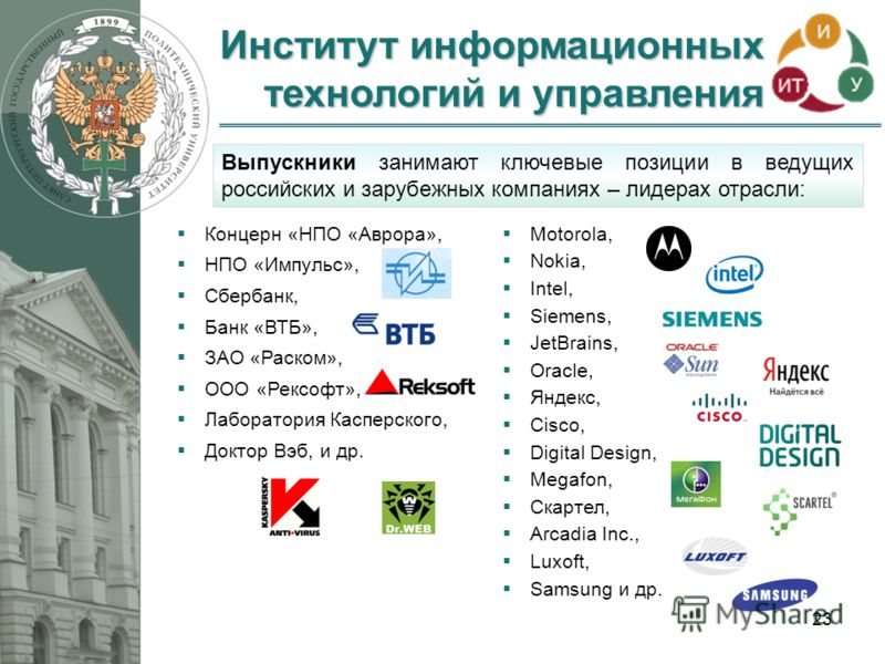 Институт информационных технологий и управления 23 Выпускники занимают ключевые позиции в ведущих российских и зарубежных компаниях – лидерах отрасли: Концерн «НПО «Аврора», НПО «Импульс», Сбербанк, Банк «ВТБ», ЗАО «Раском», ООО «Рексофт», Лаборатори