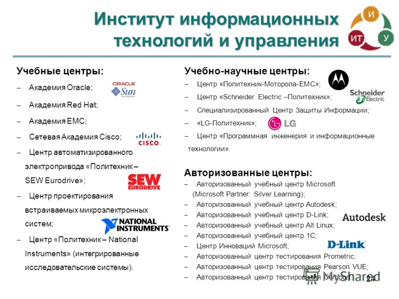 Институт информационных технологий и управления 24 Учебные центры: Академия Oracle; Академия Red Hat; Академия EMC; Сетевая Академия Cisco; Центр автоматизированного электропривода «Политехник – SEW Eurodrive»; Центр проектирования встраиваемых микро