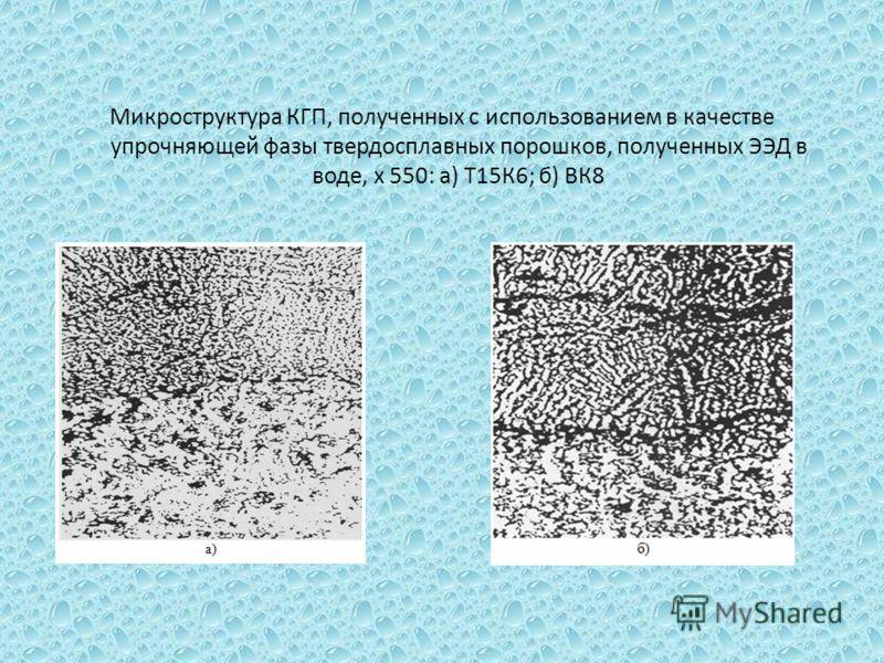 Микроструктура КГП, полученных с использованием в качестве упрочняющей фазы твердосплавных порошков, полученных ЭЭД в воде, х 550: а) Т15К6; б) ВК8