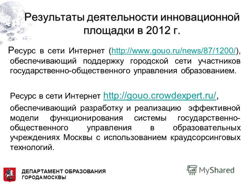 Результаты деятельности инновационной площадки в 2012 г. Р есурс в сети Интернет (http://www.gouo.ru/news/87/1200/), обеспечивающий поддержку городской сети участников государственно-общественного управления образованием.http://www.gouo.ru/news/87/12