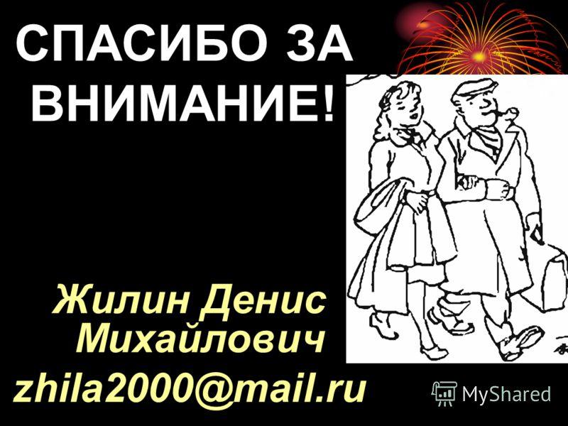 СПАСИБО ЗА ВНИМАНИЕ! Жилин Денис Михайлович zhila2000@mail.ru